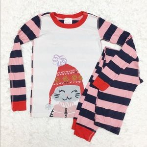 Hanna Andersson Winter Cat Long John PJ Set 10E